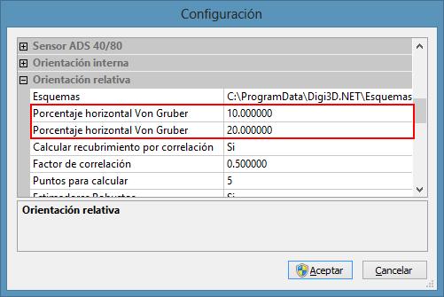 Cuadro de diálogo Configuración mostrando las opciones de porcentajes Horizontal y Vertical de Von Gruber