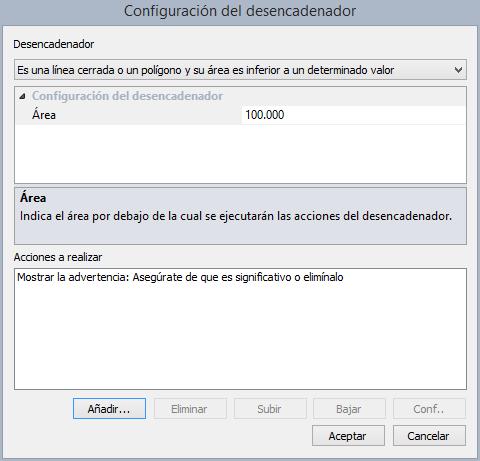 Cuadro de diálogo Configuración del desencadenador