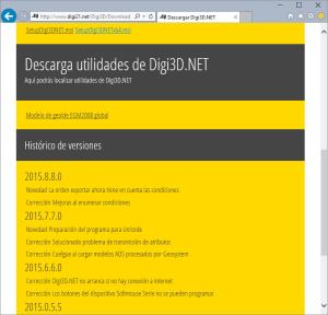Página de descarga de Digi3D