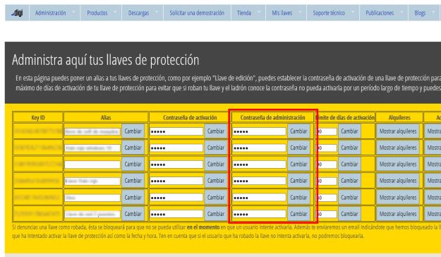 Página web mostrando contraseña de administración