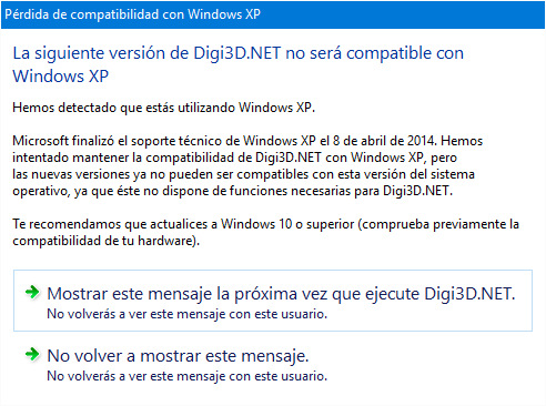 Pérdida de compatibilidad con Windows XP