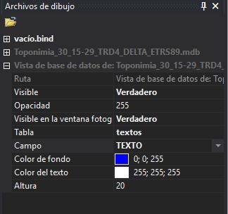 Vista de base de datos en el panel de archivos de dibujo